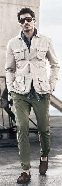 Outfits For Men Fall Wear Cream Jacket With Green Olive Pants