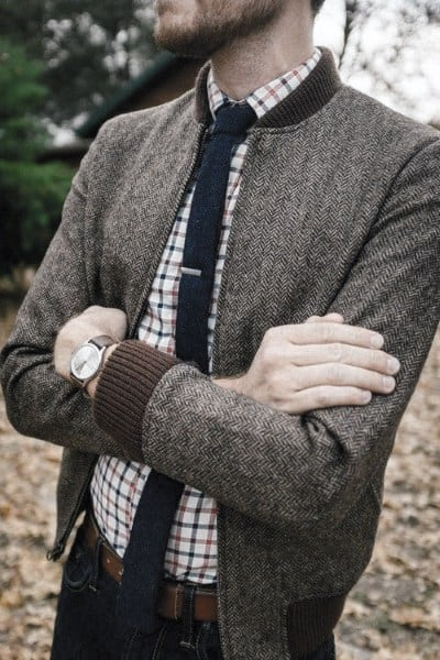 Outfits For Men With Casual Wear Look Checkered Shirt With Skinny Tie And Charcoal Jacket