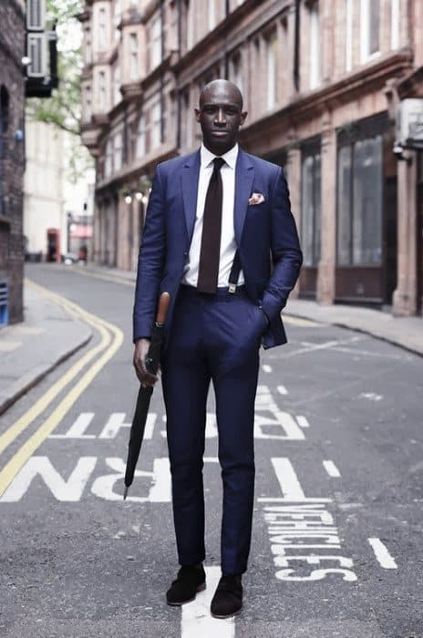 Outfits For Men With Navy Blue Suit Brown Shoess