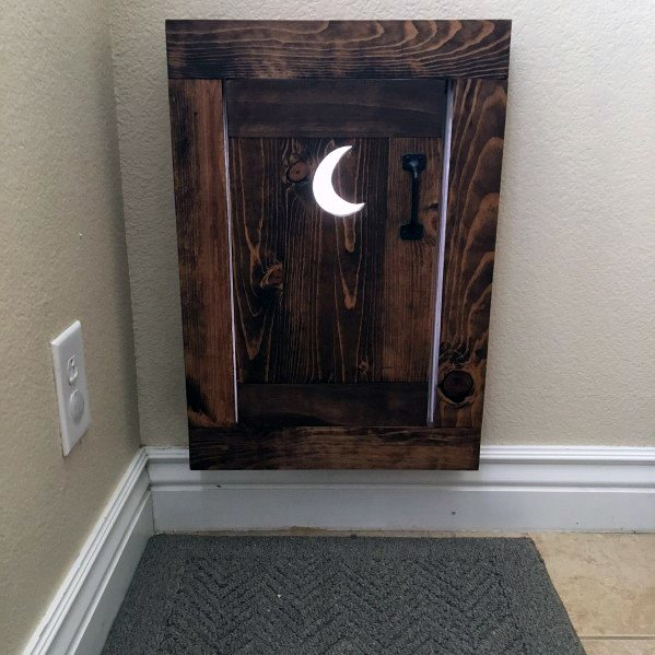 Outhouse Themed Moon Cut Out Wood Design Ideas Doggy Door