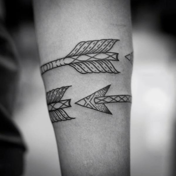 Outline Arrows Tattoo Mens Armband Designs