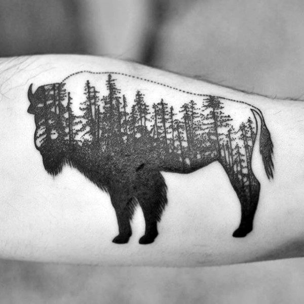 Outline Bison With Pine Tree Forest Mens Arm Tattoo
