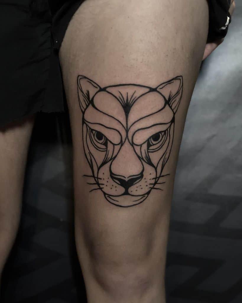 Outline Black Art Ink Lion Tattoo
