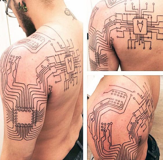 Outline Black Ink Circuit Board Mens Tattoos On Back And Shoulder
