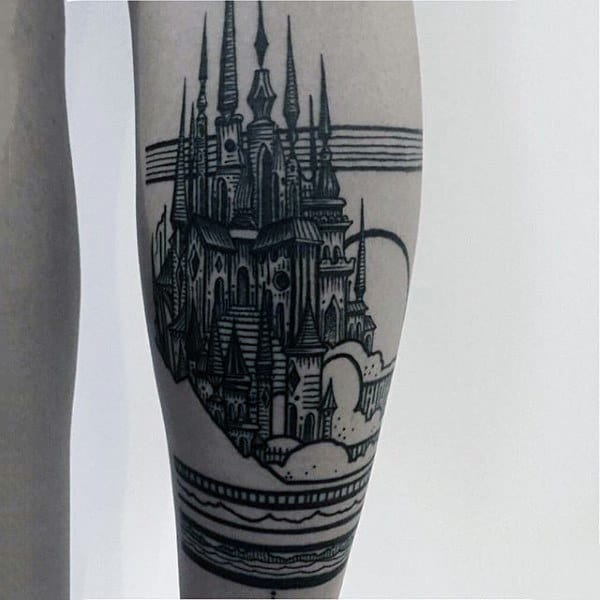 Outline Black Ink Mens Leg Castle Tattoo