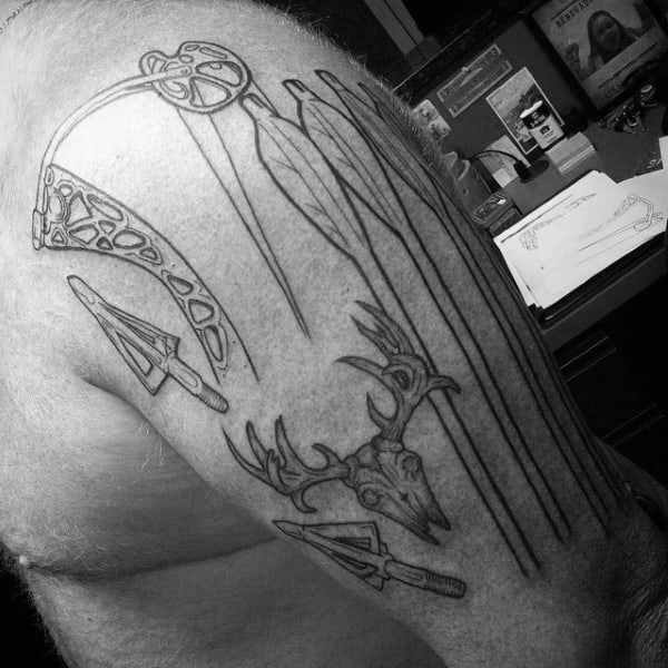 Outline Bowhunting Guys Arm Tattoo