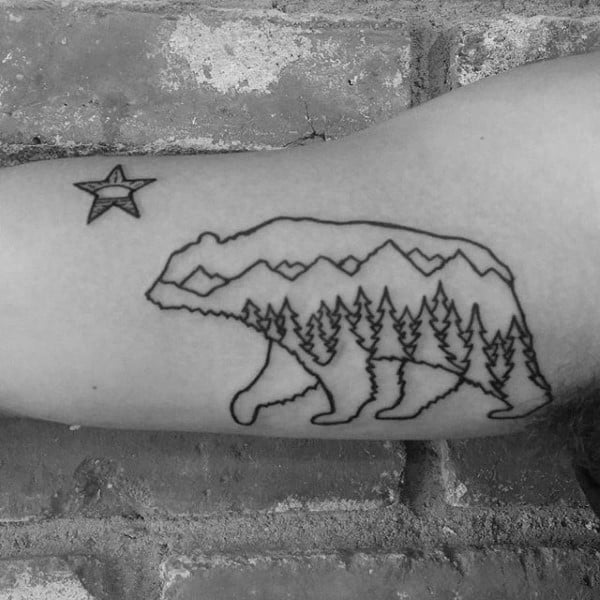 Outline Linework Guys California Bear Arm Tattoo