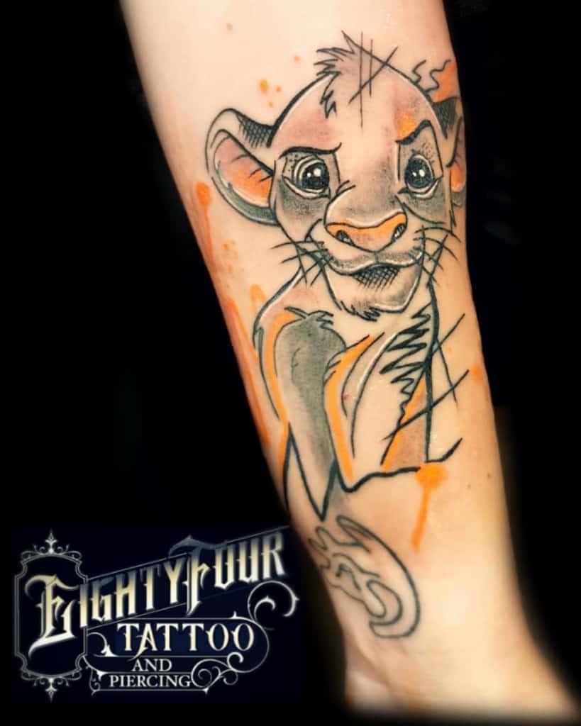 Outline Linework Simba Tattoo Eightyfour.tattoo