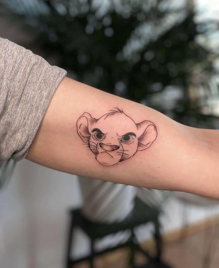 Outline Linework Simba Tattoo Ethereal.tattoo
