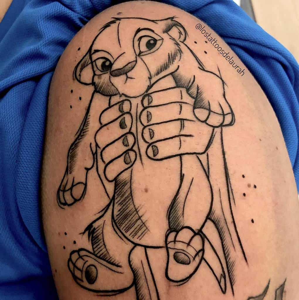 Outline Linework Simba Tattoo Lostattoosdelaurah