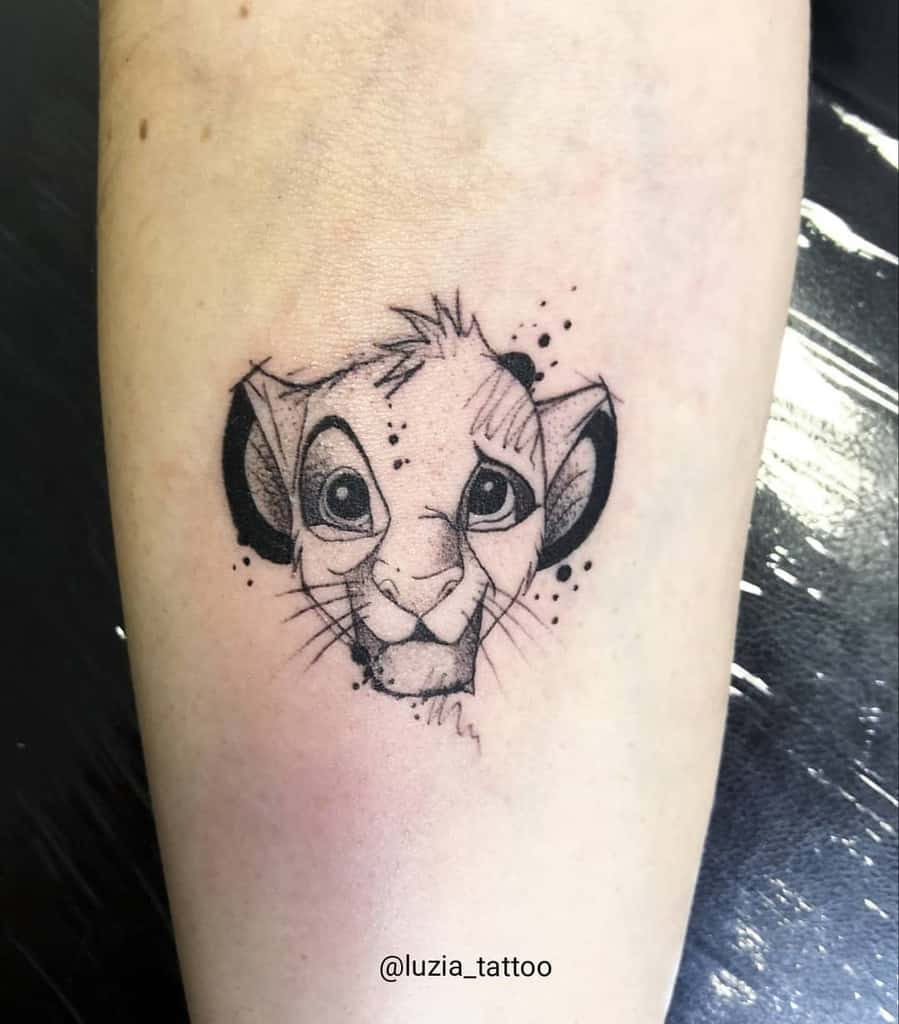 Outline Linework Simba Tattoo Luzia Tattoo