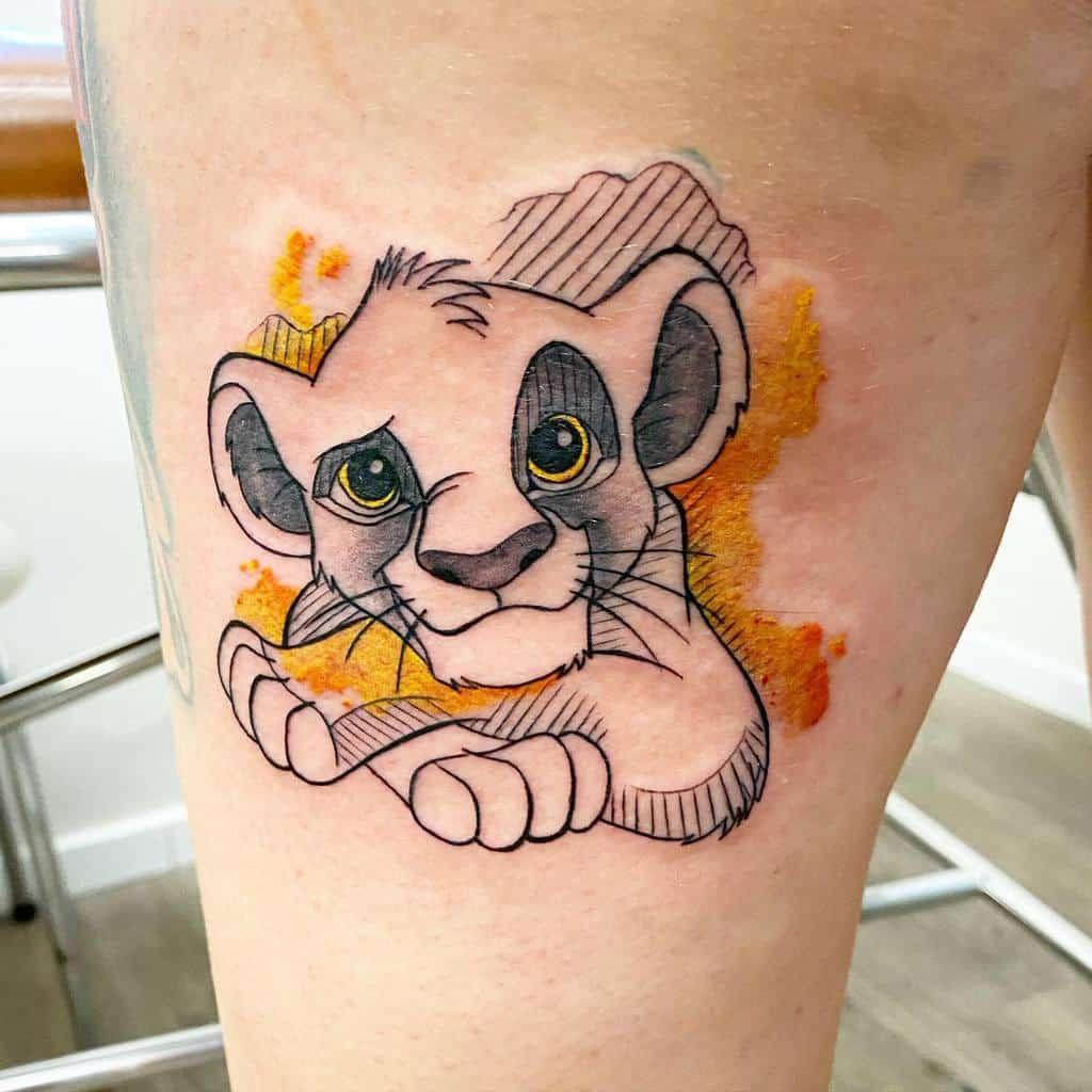 Outline Linework Simba Tattoo Neotattoo Roms