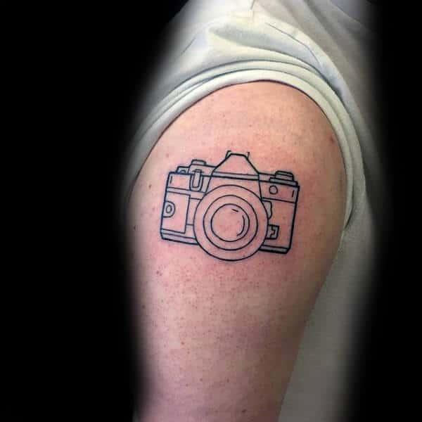 Outline Minimalist Camera Upper Arm Tattoos For Gentlemen
