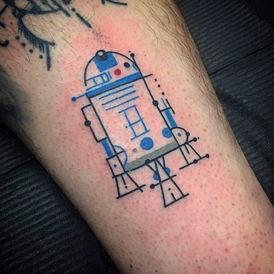 Outline Of Robot Star Wars Tattoo Male Forearms