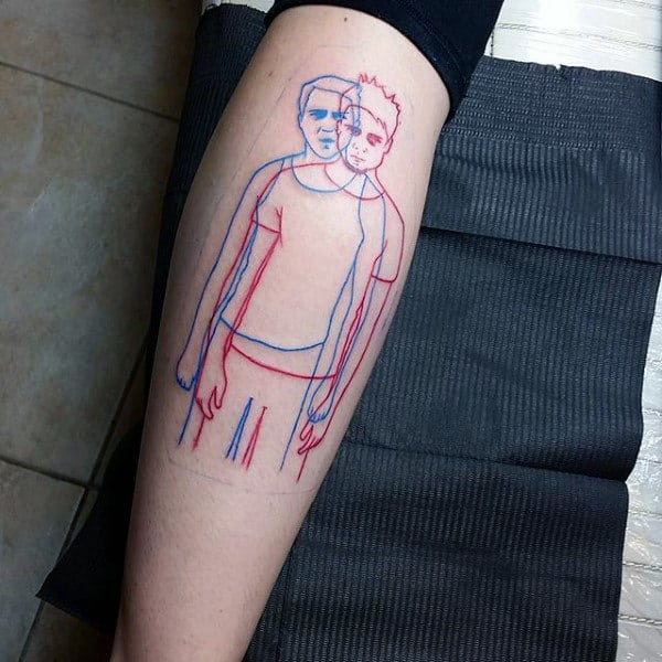 Outline Red And Blue Ink Fight Club Mens Leg Tattoo Design Inspiration