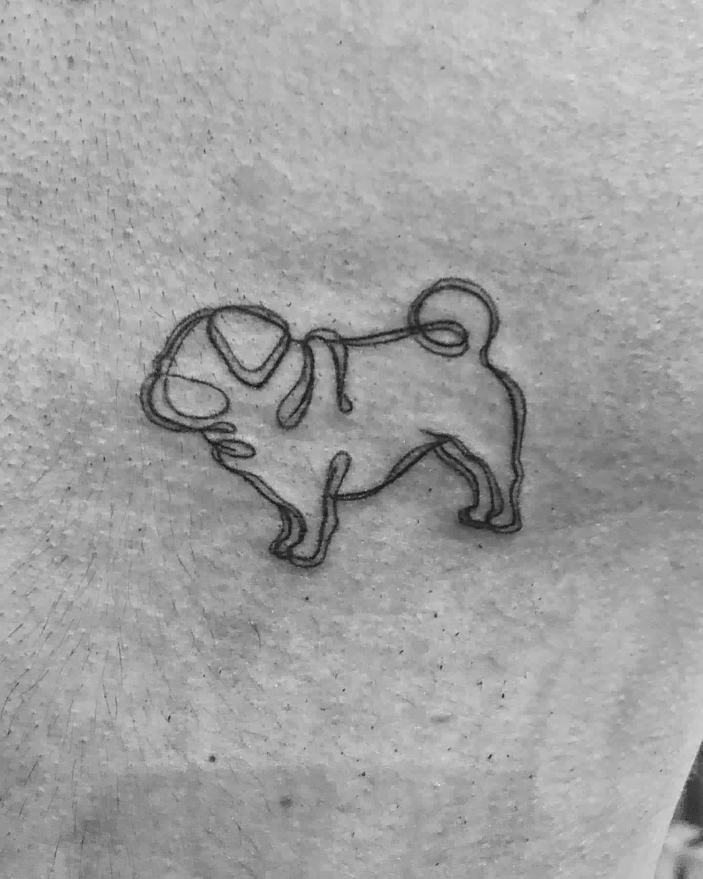 Outline Simple Pug Tattoo Alefarrera.tattoo