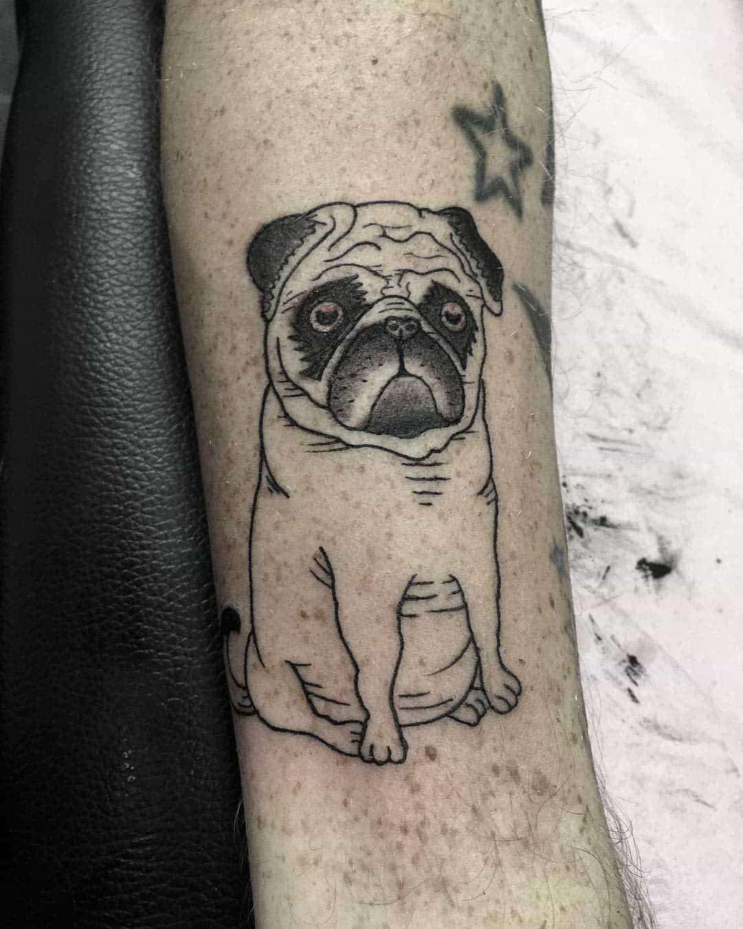 Outline Simple Pug Tattoo Guyandersontattoos