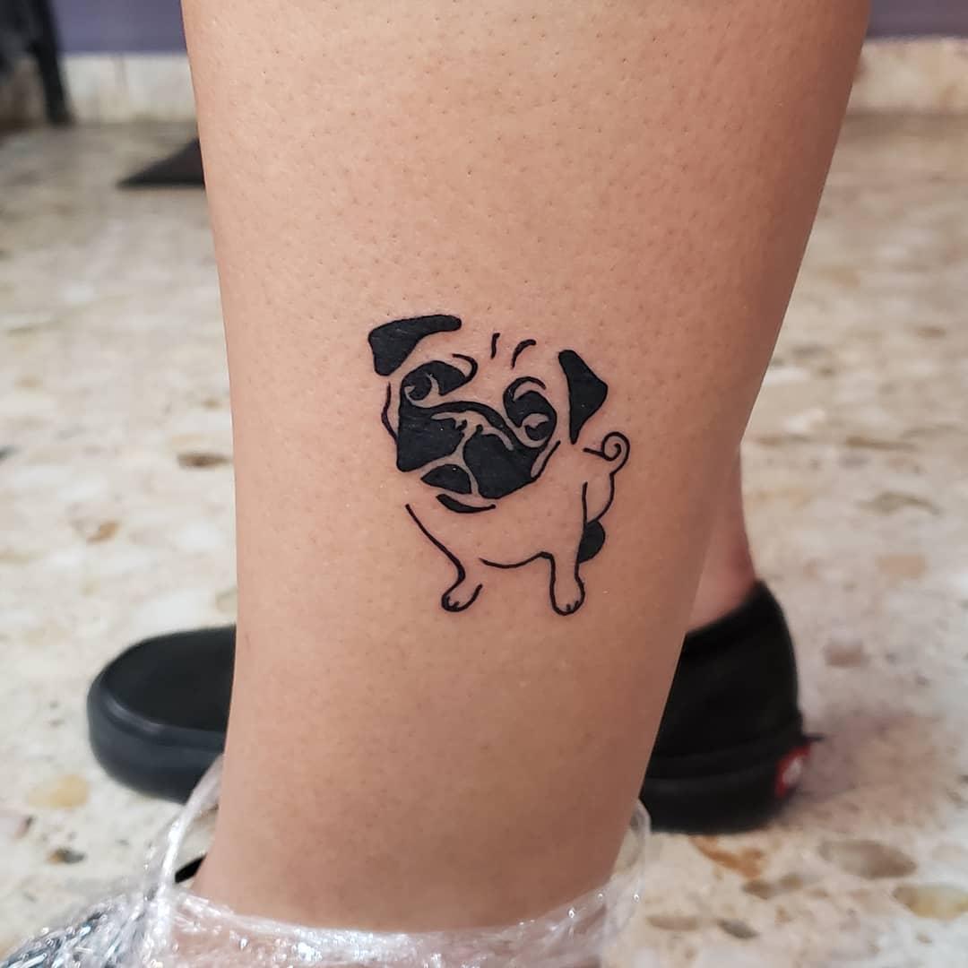 Outline Simple Pug Tattoo Yenytt