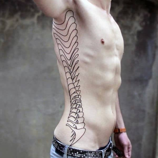 Outline Spinal Cord Black Ink Tattoo On Mans Rib Cage Side Of Body