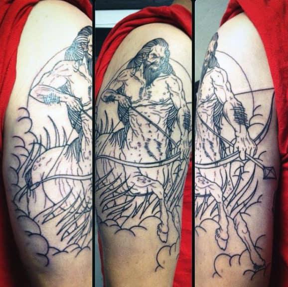 Outline Tattoo For Men Sagittarius Half Horse Half Human Upper Arm Design