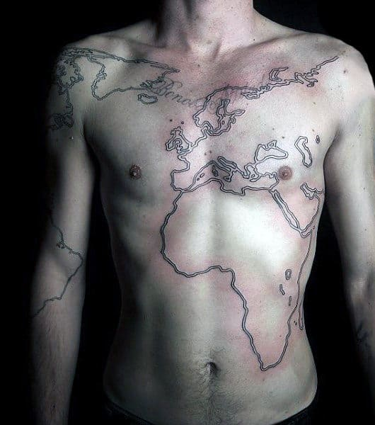 50 world map tattoo designs for men adventure the globe outline world map mens tattoo on chest gumiabroncs Images