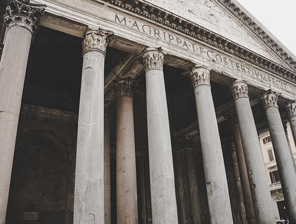 Outside Beams Pantheon Rome Italy
