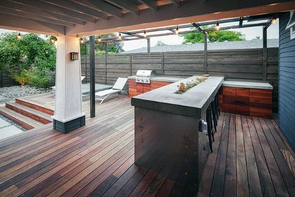 Outside Home Bar Ideas Wood Deck