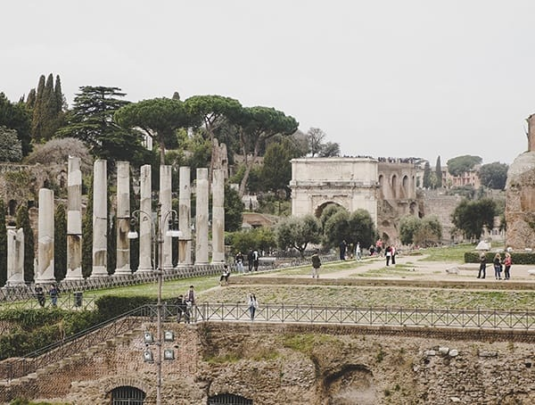 Outside View From Inside Colosseum Rome Italy