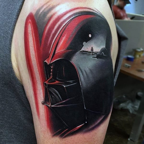 Outstanding Red Black Darth Vader Tattoo Mens Upper Arms