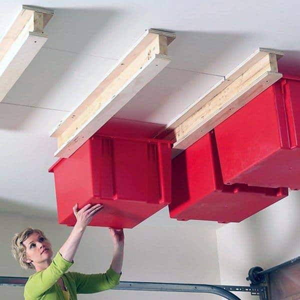 Overhead Bins In Garage Small Space Tool Storage Ideas