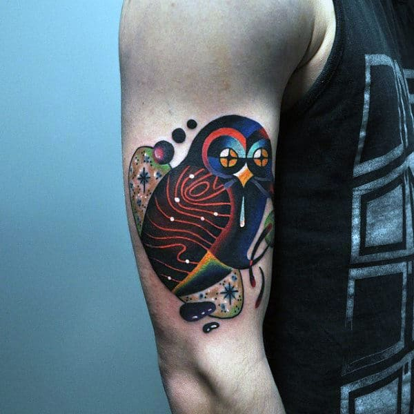 Owl Amazing Abstract Guys Upper Arm Tattoos