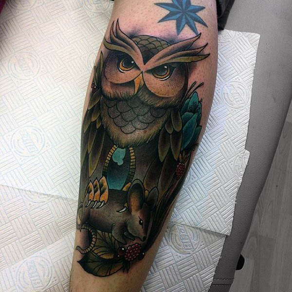 Owl And Rat Neo Tradiotional Tattoo Mens Forearms