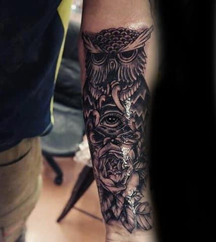 Owl And Rose Illuminati Tattoo Male Forearms