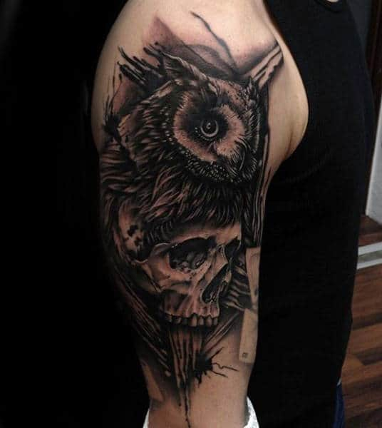 Owl And Skull Half Sleeve Black Ink Animal Guys Tattoos