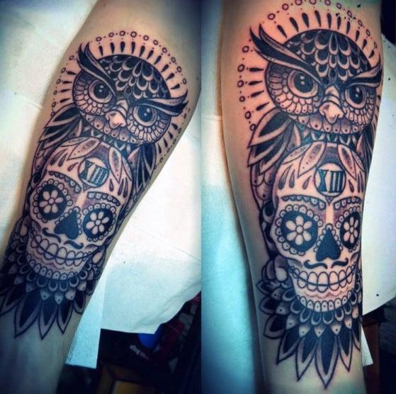 Owl And Skull Tattoo For Men