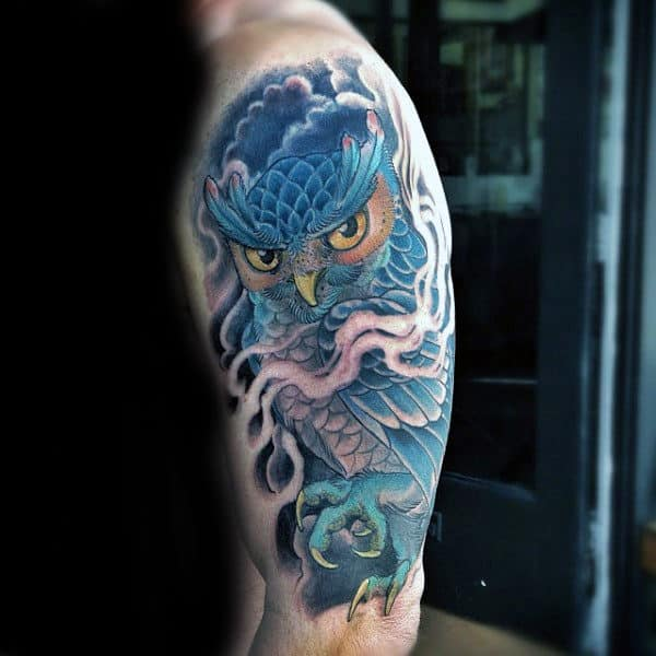 Owl Awesome Mens Half Sleeve Tattoo Ideas