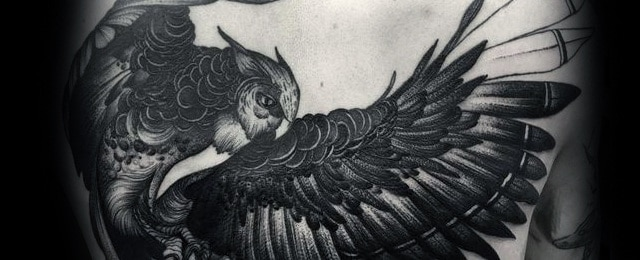Owl Back Tattoo Designs For Men