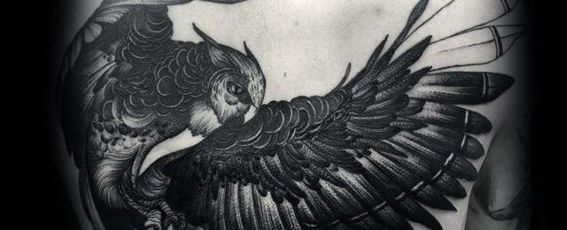 Owl Back Tattoo Designs For Men