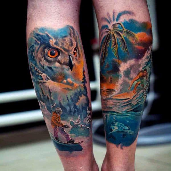Owl Beach Underwater Tattoo For Men On Forearm