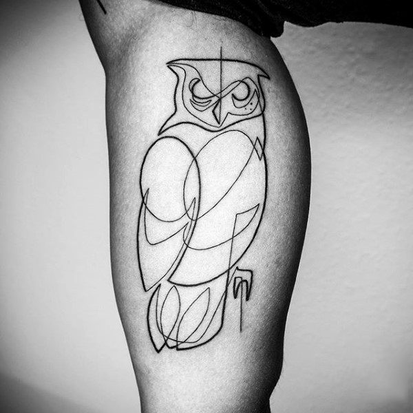 Owl Bicep Tribal Line Tattoos For Men