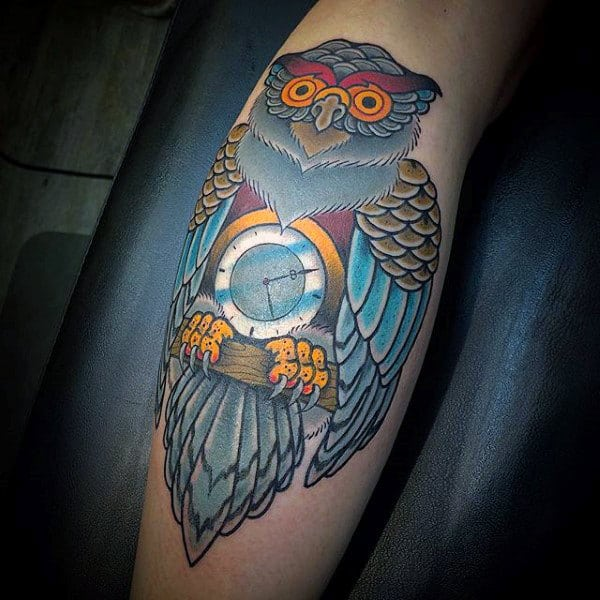 Owl Clock Traditional Male Leg Tattoos