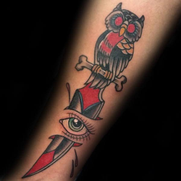 Owl Dagger With Eye Male Inner Forearm Traditional Tattoo Ideas