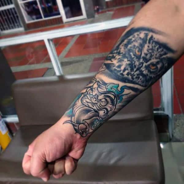 Owl Daruma Doll Watercolor Mens Forearm Sleeve Tattoos