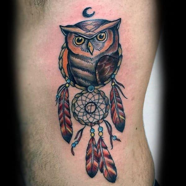 Owl Dreamcatcher Ribs Mens Tattoo Design