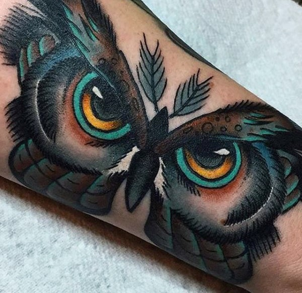 Owl Eyes Moth Mens Forearm Tattoo