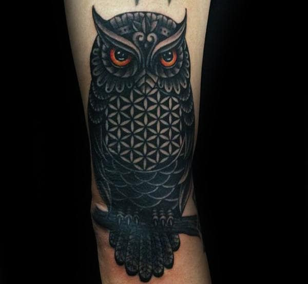 Owl Flower Of Life Mens Arm Tattoo