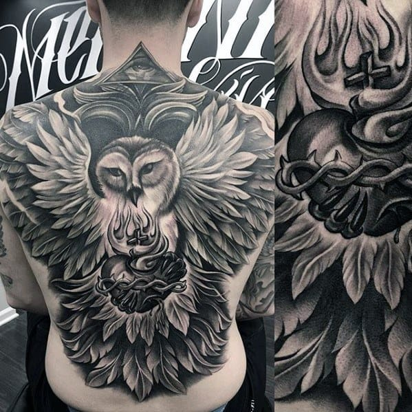 Owl Flying With Heart Mens Unique Back Tattoo Ideas