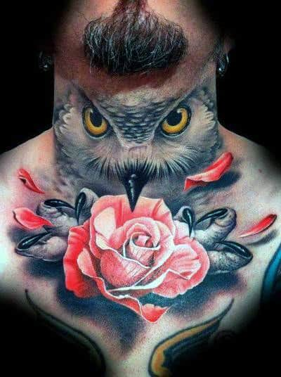 Owl Grabbing Realistic Rose Flower With Claws Mens Chest Tattoos