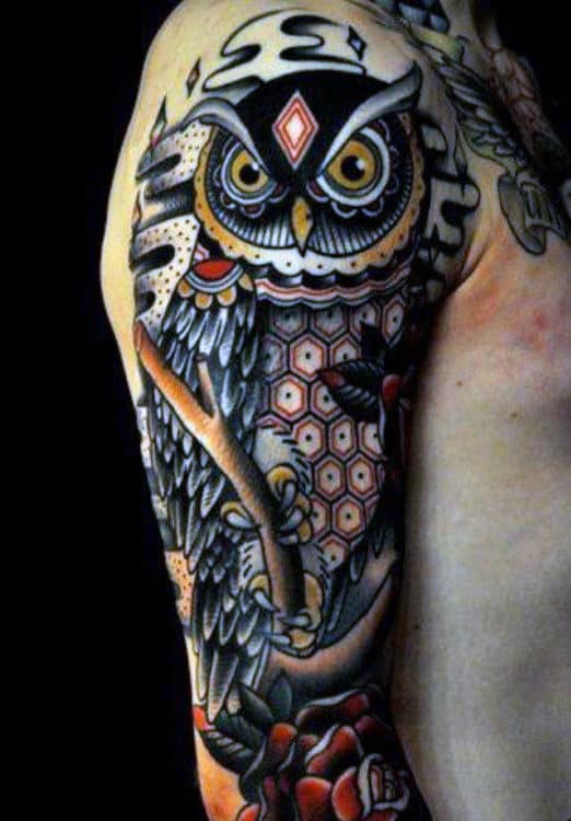 Owl Half Sleeve Tribal Tattoos For Men