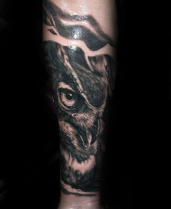 Owl Head Guys Forearm Sleeve Tattoo Designs